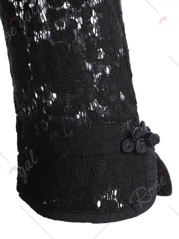Trendy Lace A Line Mini Cheongsam Dress - M BLACK Mobile