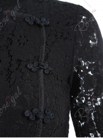 New Lace A Line Mini Cheongsam Dress - M BLACK Mobile