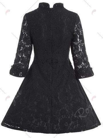 Affordable Lace A Line Mini Cheongsam Dress - M BLACK Mobile
