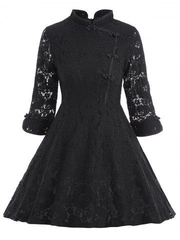 Discount Lace A Line Mini Cheongsam Dress - M BLACK Mobile