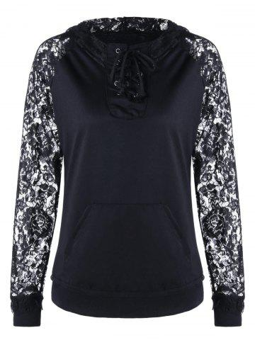 Affordable Lace Panel Lace Up Hoodie BLACK L