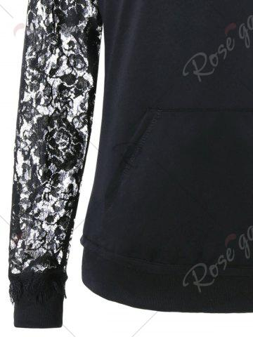 Store Lace Panel Lace Up Hoodie - M BLACK Mobile
