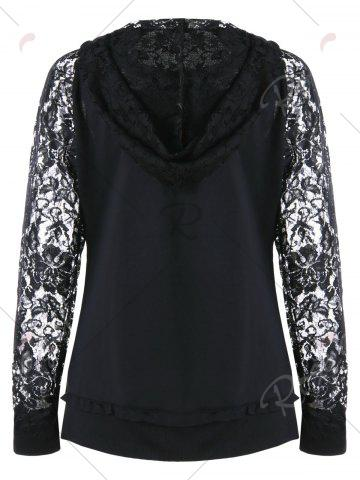 Affordable Lace Panel Lace Up Hoodie - M BLACK Mobile