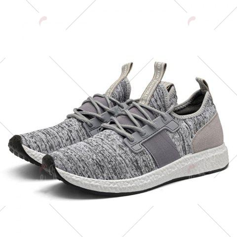 Affordable Breathable Elastic Band Tie Up Casual Shoes - 42 GRAY Mobile
