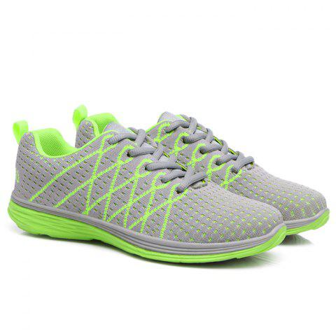 Breathable Geometric Pattern Athletic Shoes - Grey + Fluorescent Green - 40