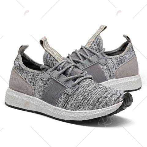 Discount Breathable Elastic Band Tie Up Casual Shoes - 42 GRAY Mobile
