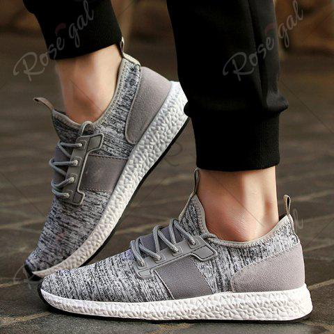 Cheap Breathable Elastic Band Tie Up Casual Shoes - 42 GRAY Mobile