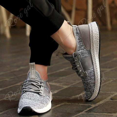 Outfit Breathable Elastic Band Tie Up Casual Shoes - 42 GRAY Mobile