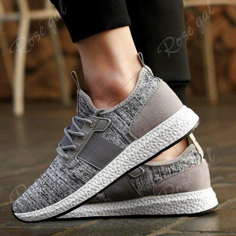 Chic Breathable Elastic Band Tie Up Casual Shoes - 42 GRAY Mobile