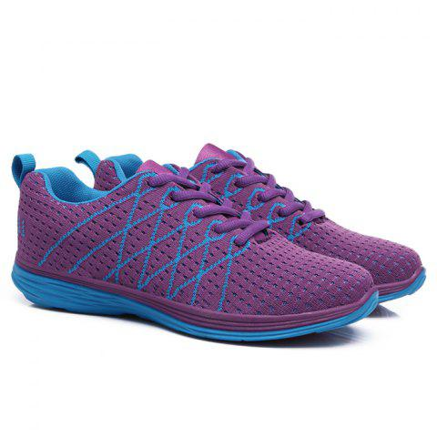 Outfits Breathable Geometric Pattern Athletic Shoes - 37 PURPLE Mobile