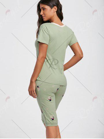 Trendy Letter Print Cotton Pajamas Set - L GREEN Mobile
