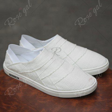 Cheap Elastic Band Breathable Casual Shoes - 43 WHITE Mobile