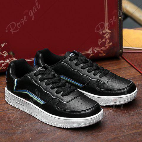 Outfits Breathable Colour Block Faux Leather Casual Shoes - 40 BLACK Mobile