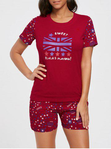 Fashion Cotton Stars Print Pajamas Set - L RED Mobile