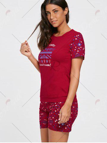 Online Cotton Stars Print Pajamas Set - L RED Mobile