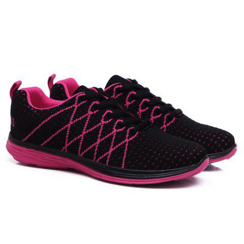 Breathable Geometric Pattern Athletic Shoes - Black And Rose Red - 40