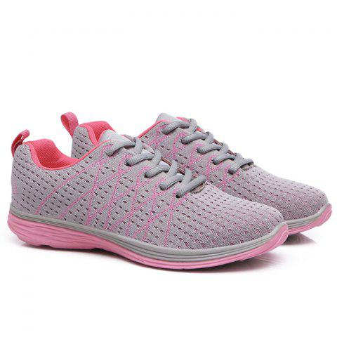 Hot Breathable Geometric Pattern Athletic Shoes - 40 PINK AND GREY Mobile