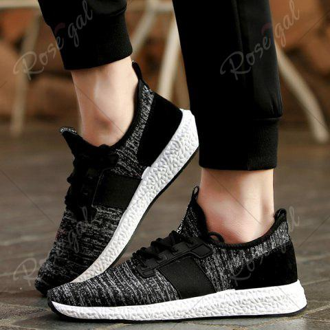 Trendy Breathable Elastic Band Tie Up Casual Shoes - 43 BLACK Mobile