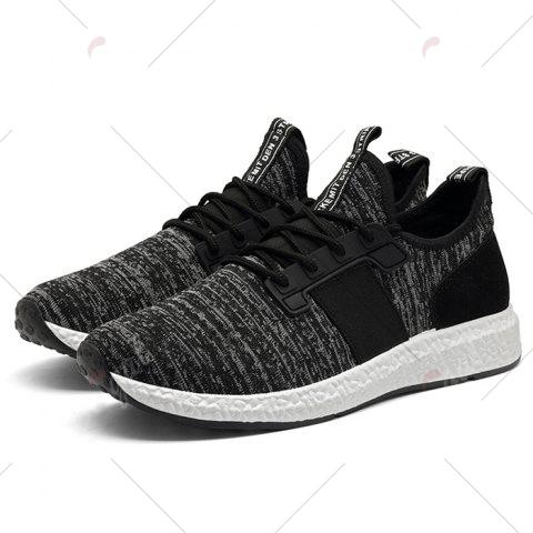 Affordable Breathable Elastic Band Tie Up Casual Shoes - 43 BLACK Mobile