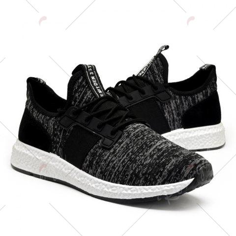 Latest Breathable Elastic Band Tie Up Casual Shoes - 43 BLACK Mobile