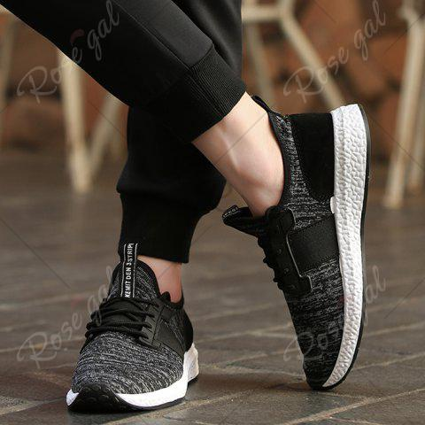 Shop Breathable Elastic Band Tie Up Casual Shoes - 43 BLACK Mobile