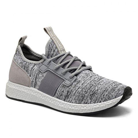 Breathable Elastic Band Tie Up Casual Shoes - Gray - 41