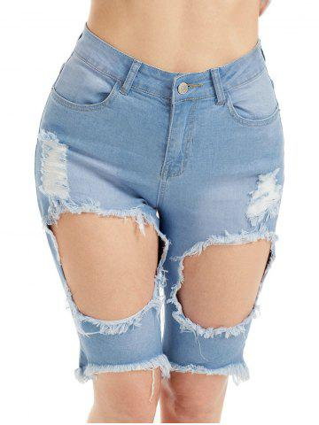 Chic Distressed High Waist Bermuda Jean Shorts - M BLUE Mobile