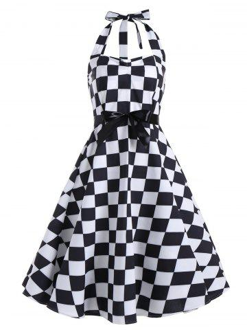 Checked Print Halter Backless Sleeveless Vintage Dress - Black White - 2xl