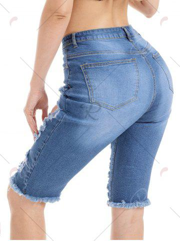 Trendy Raw Edge Ripped Jean Shorts - S BLUE Mobile