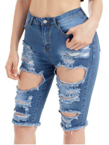 Trendy Raw Edge Ripped Jean Shorts - M BLUE Mobile