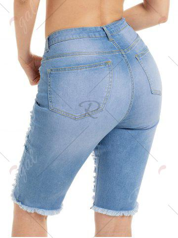 Online Raw Edge Ripped Jean Shotrs - S BLUE Mobile