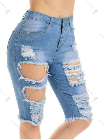 Buy Raw Edge Ripped Jean Shotrs - M BLUE Mobile