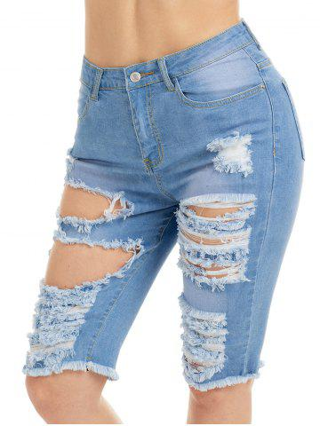 Best Raw Edge Ripped Jean Shotrs - L BLUE Mobile