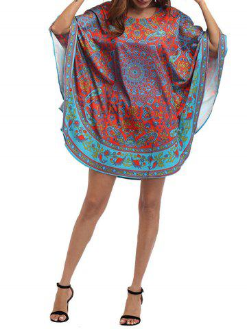 Latest Retro Batwing Sleeve Tribal Print Mini Dress - ONE SIZE COLORMIX Mobile