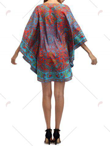 Best Retro Batwing Sleeve Tribal Print Mini Dress - ONE SIZE COLORMIX Mobile