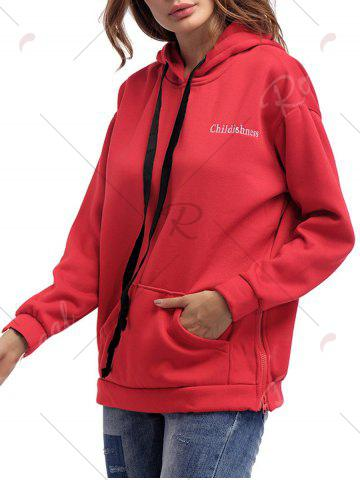 Unique Letter Embroidery Drawstring Graphic Hoodie - ONE SIZE RED Mobile