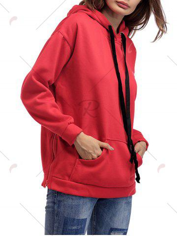 Best Letter Embroidery Drawstring Graphic Hoodie - ONE SIZE RED Mobile