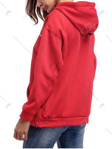 Cheap Letter Embroidery Drawstring Graphic Hoodie - ONE SIZE RED Mobile