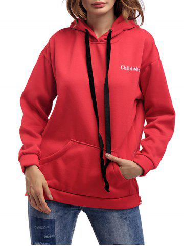 Buy Letter Embroidery Drawstring Graphic Hoodie - ONE SIZE RED Mobile