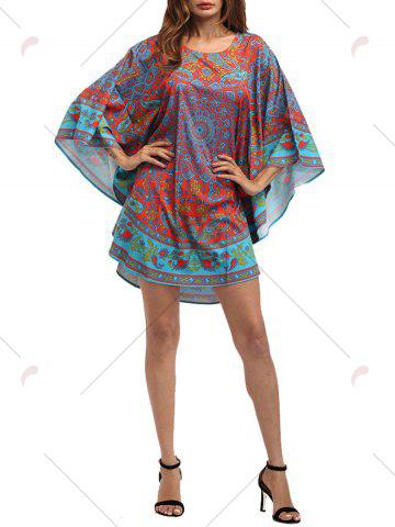 Buy Retro Batwing Sleeve Tribal Print Mini Dress - ONE SIZE COLORMIX Mobile