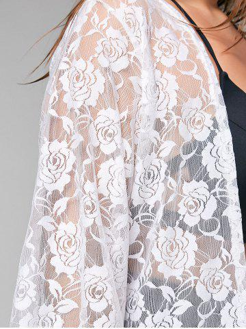 Sale Plus Size Kimono Lace Sheer Cover-up - ONE SIZE WHITE Mobile