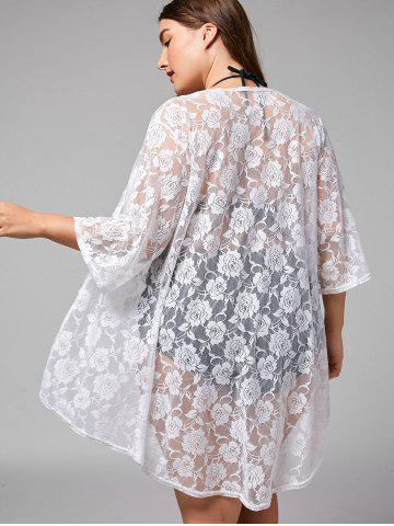 Shops Plus Size Kimono Lace Sheer Cover-up - ONE SIZE WHITE Mobile