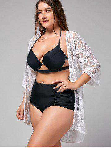 Hot Plus Size Kimono Lace Sheer Cover-up - ONE SIZE WHITE Mobile
