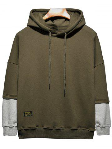 Hot Plus Size Hooded Color Block Panel Raglan Sleeve Hoodie ARMY GREEN 2XL