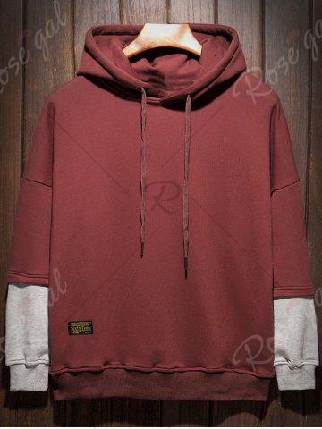 Fancy Plus Size Hooded Color Block Panel Raglan Sleeve Hoodie - 5XL WINE RED Mobile