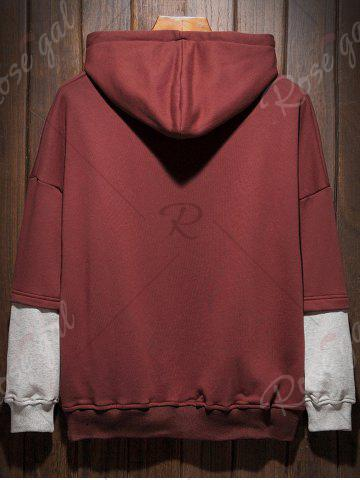 Trendy Plus Size Hooded Color Block Panel Raglan Sleeve Hoodie - 5XL WINE RED Mobile