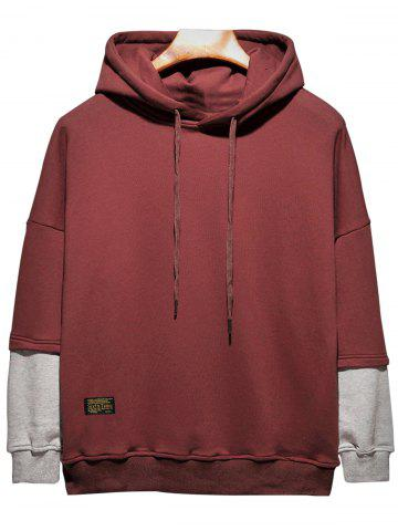 Fashion Plus Size Hooded Color Block Panel Raglan Sleeve Hoodie WINE RED 2XL