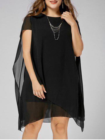 Asymmetric Chiffon Plus Size Cape Dress - Black - 3xl