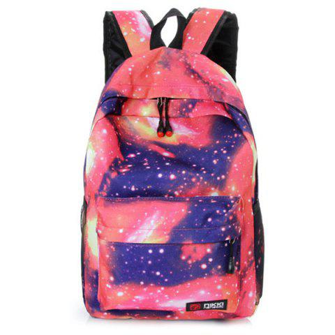 Store Galaxy Print Backpack with Padded Strap PINK