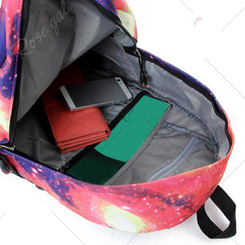 Fashion Galaxy Print Backpack with Padded Strap - PINK  Mobile